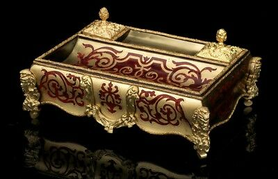 Antique French Boulle Inkstand. France, 19th Century. Restored