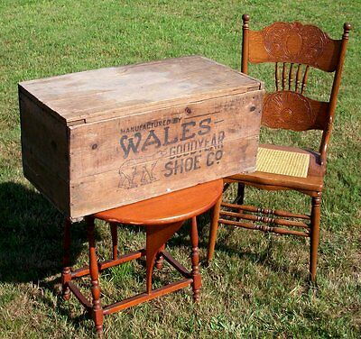 Wales Goodyear Shoes antique wooden box primitive crate KEDS precursor