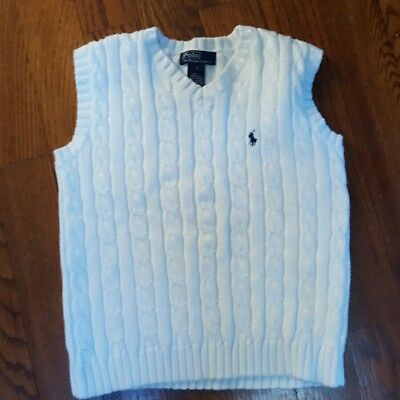 Boy Size 7 White Polo by Ralph Lauren Sweater Vest