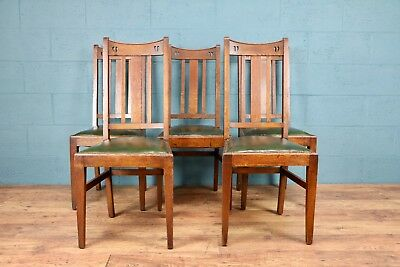 Set of 5 Arts and Crafts Dining Chairs, E.A. Taylor, Scottish (100599)