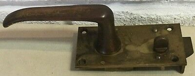 Vintage/Old Copper/Brass Lever Door Handle on Back Plate With Privacy Switch