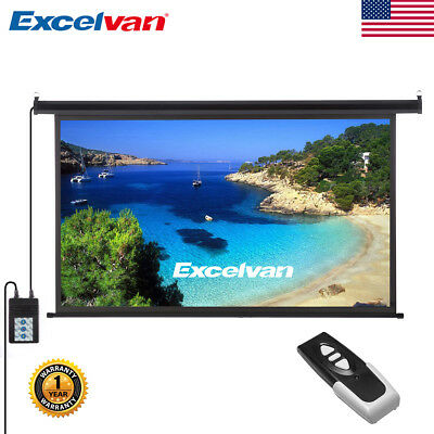 """100"""" 16:9 HD Electric Motorized Projector Screen Projection Remote Control New"""