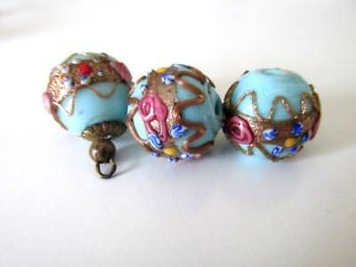 Vtg. Blue Venetian Millefiori Lampwork Glass Beads for Jewelry or Crafts