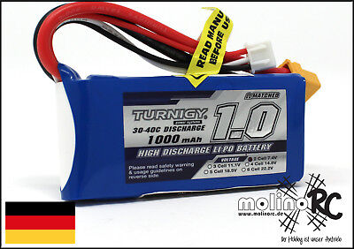 1x Turnigy 1000mAh 2S 30C XT60 POWER Lipo Akku 7,4V