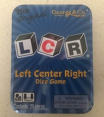 LCR Left Center Right Dice Game Family Fun Unpredictable Play w  Tin ((8)