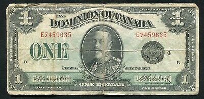 1923 $1 One Dollar Dominion Of Canada Banknote Black Seal Campbell/Clark