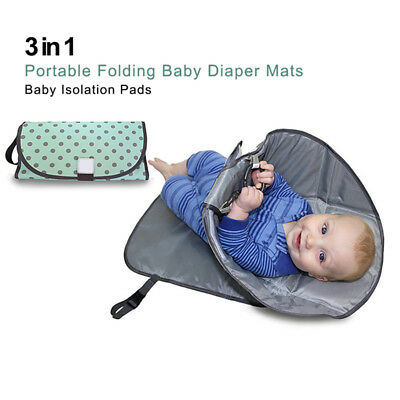 Green wave point 3-in-one portable folding baby diaper pad baby urine care K5S4