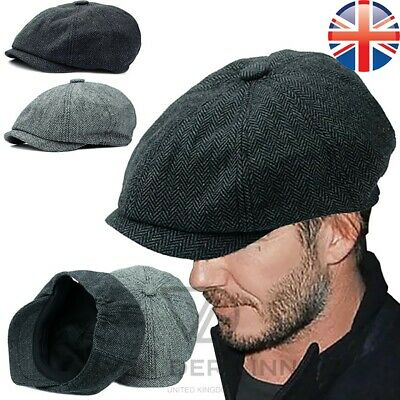 *UK Seller* Mens Baker Boy Hat Newsboy Flat Cap Tweed Peaky Blinders Black Grey