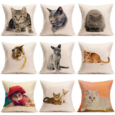 Cute Animal Cat Linen Pillow Covers Sofa Pillow Case Car Seat Cushion Cover 18""