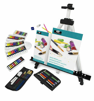 All Media Easel Travel Artist Set 96pc Water/Oil/Acrylic Paints & Pastels FA-202