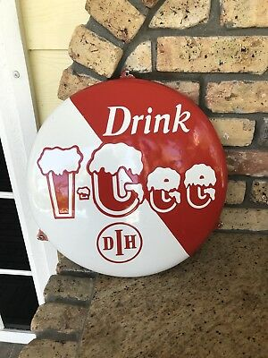 Original Drink Icee Ice cold Porcelain Advertising Button Sign