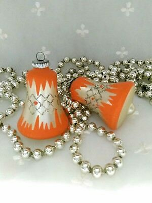 Vintage *Rare* Orange Christmas Glass Ornaments Mica West Germany Lot of 2