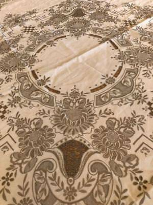 """Rare 64"""" Round Antique Madeira Tablecloth White Linen Beige Embroidery excellent"""