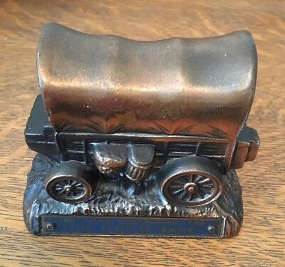 1955 Copper Covered Wagon Coin Bank, Canton, Ohio Sesquiecentennial 1808!