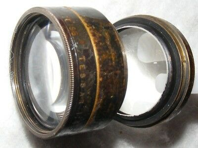 Ross London,Zeiss Tessar 150mm F4.5 brass lens, two parts. FOR SPARES OR REPAIRS