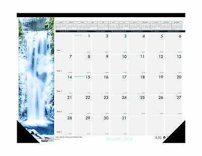 House of Doolittle 2018 Monthly Desk Pad Calendar, Earthscapes Waterfalls, 18...