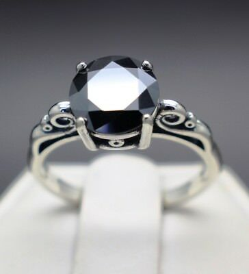 2.13cts 8.50mm Natural Black Diamond Ring, Certified, AAA Grade & $1225 Value