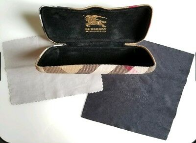 Burberry Sunglass Case, Marked Italy Excellent Shape, Plaid Pattern, W/cloth