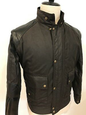Belstaff Mens Cafe Racer Jacket Waxed Cotton Leather Black Made England Sz Small