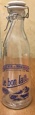 "Vintage ""le Bon Lait"" French Blue Milk Bottle With Ceramic Top"