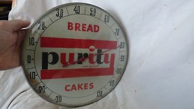 """Vintage Purity Maid Bread & Cakes 12"""" Round Thermometer, Sign- T.W. O'Connell"""