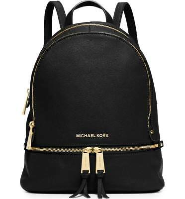 f7316ec81d44 NWT Michael Kors Rhea Zip Medium Size Backpack Black Leather FACTORY SEALED
