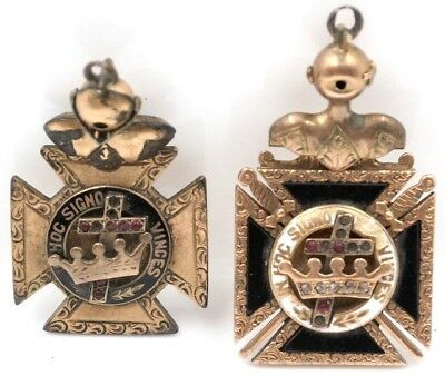 Lot Of Two Vintage Masonic Medals Cross And Crown 1910 -No Reserve