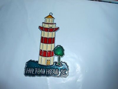 """/""""Montauk NY  Lighthouse/"""" Suncatcher with Stained Glass//Acrylic//Metal ~5.5/""""  NEW"""