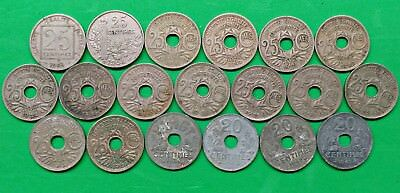 Lot of 19 Different Old French 20 & 25 Centimes Coins 1903-1943 Vintage France