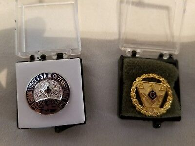 2 Vintage Masonic Member Grand Lodge f&am Pennsylvania 25 Year lapel  hat pin