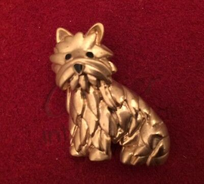 Cute Gold-Tone Westie Or Cairn Or Yorkie Dog Pin Brooch
