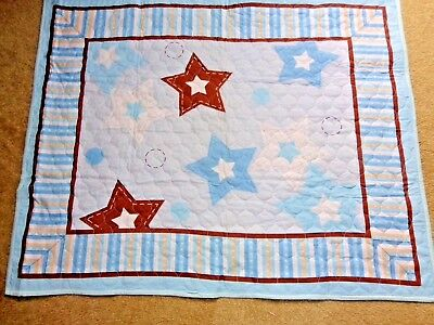 """Blue Star Crib / Lap Quilt, Wall Hanger Panel Machine Quilted 34""""x 44"""" New"""