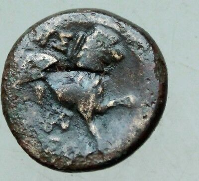 L6  Ancient  Greek  Bronze Coin Head of Athena Helmet Rs Lion  15mm 3,4g  RR