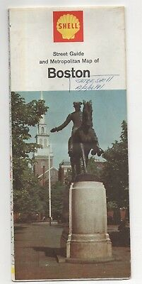 Vintage 1966 SHELL OIL CO Road Map of BOSTON