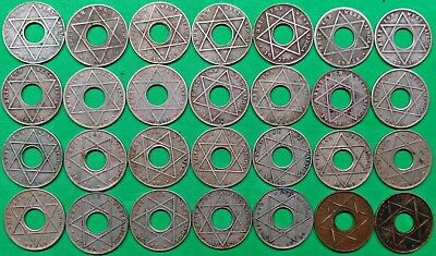Old Collection of 28 Different British West Africa 1/10 Penny Coins 1914-1954 !