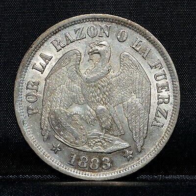 1883 Chile 1 Peso ✪ Au Almost Uncirculated ✪ Choice Ch Republic L@@k ◢Trusted◣