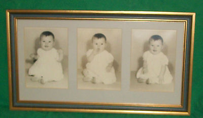 Vtg Home Decor Mid Cent Modern Baby Room Nursery Sepia Glass Frame Photo Triplet