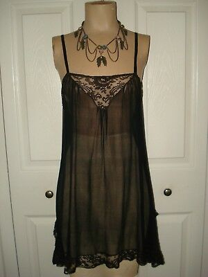 *Roaring 20's* Vintage 1920s 30s 40s? Black Sheer Chiffon Teddy With Lace SZ S M
