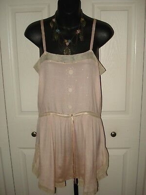 *Roaring 20's* Vintage 1920's Pink Silk Teddy Slip With Embroidery Size Small