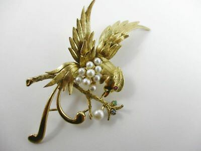 14K Yellow Gold Bird Pin Brooch Circa 1950's With Ruby Emerald Sapphire & Pearls
