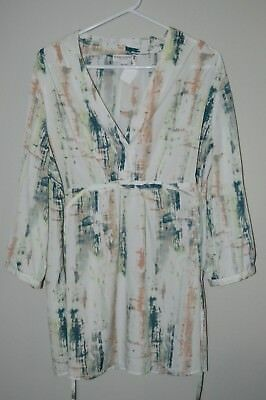 Liz Lange Maternity Size Xxl Silky 3/4 Sleeve Tunic Top White Green Coral Print