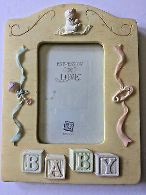 Russ Baby Photo Picture Frame Yellow Hand Painted Expression of Love 3x5""