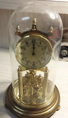 Vintage Kieninger & Obergfell Kundo Anniversary Clock Glass Dome West Germany