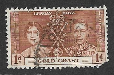 GOLD COAST POSTAL ISSUE 1937 - USED 1d KGV1 COMMEMORATIVE STAMP - CORONATION