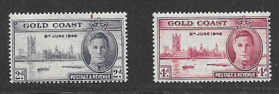 Gold Coast Postal Issue 1946 Mint Set Kgv1 Commemorative Stamps - Peace Victory