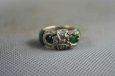 Collectible Handwork Decor Old Jade Armor Miao Silver Carve Exorcism Dragon Ring