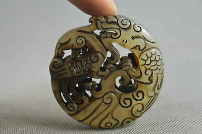 Collectible Handwork Decor Old Jade Carve Exorcism Dragon Delicate Rare Pendant