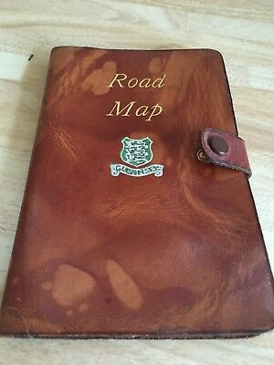 Vintage W Johnston Leatherbound pocket road map of UK - Guernsey Emblem