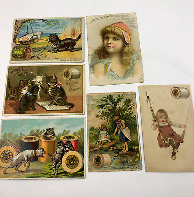 Vintage J&P Thread Victorian Trading Cards Trade Cats Dogs Children