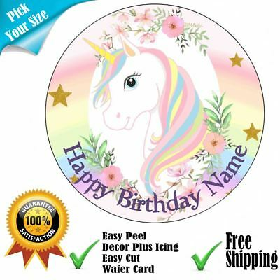 Unicorn Party Personalised Edible Cake Topper Icing or Wafer